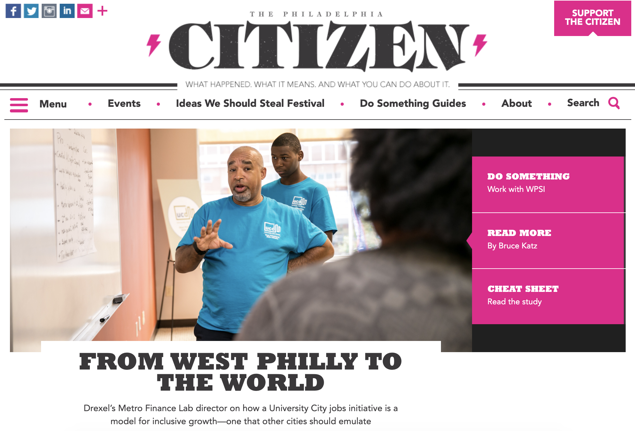 The West Philadelphia Skills Initiative (WPSI)   From West Philly to the World